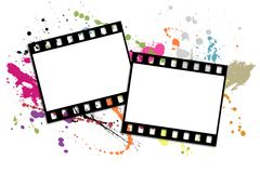 Film strip. Two shots on a white background with blots Royalty Free Stock Photo