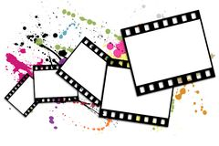 Film strip. Shots on a white background with blots Royalty Free Stock Photos