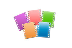 Film strip. Five colour shots on a white background with blots Royalty Free Stock Photography