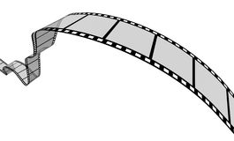 Film Strip. 3d Film Strip. White background. Digitally Generated Stock Image