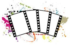 Film strip. Four shots on a white background with blots Royalty Free Stock Photography