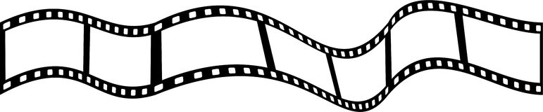 Film strip. Wavy strip of movie or camera film isolated on white Stock Photography