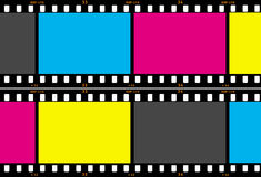 Film Strip. Showing cyan, magenta, yellow and black (CMYK) in the image areas Royalty Free Stock Photo
