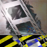 Film strip. On an attention sign background Stock Image