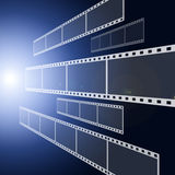 Film strip background. Film strip on blue background Royalty Free Stock Photos