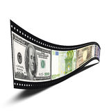 Film strip with banknotes. 3D film strip with dollars, euro, yen, pound banknote pictures isolated over white background Stock Photography