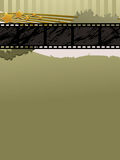 Film strip banner. Distressed background with film strip banner and stars Royalty Free Stock Photo