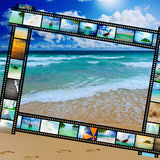 Film strip with beautiful holiday pictures. Of tropical beach Stock Photo