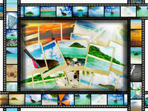Film strip with beautiful holiday pictures. Of tropical beach Royalty Free Stock Photos