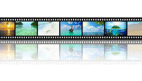 Film strip with beautiful holiday pictures. Of tropical beach Stock Photography