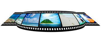 Film strip with beautiful holiday pictures. Of tropical beach Stock Image