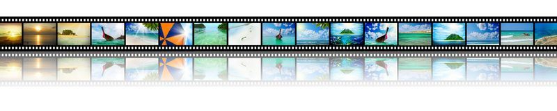 Film strip with beautiful holiday pictures Royalty Free Stock Images