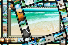 Film strip with beautiful holiday pictures. Of tropical beach Royalty Free Stock Images