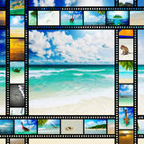 Film strip with beautiful holiday pictures. Of tropical beach Stock Photos