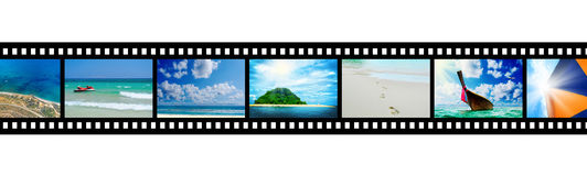 Film strip with beautiful holiday pictures Royalty Free Stock Photo