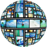Film strip with beautiful holiday pictures stock image