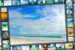 Film strip with beautiful holiday pictures Royalty Free Stock Photos