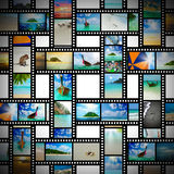 Film strip with beautiful holiday pictures. Of tropical beach Royalty Free Stock Photography