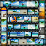 Film strip with beautiful holiday pictures. Of tropical beach Royalty Free Stock Photo