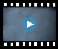 Film strip. Blank  film strip on white background and sign PLAY Royalty Free Stock Image