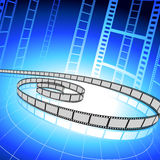 Film strip on blue background Royalty Free Stock Photo