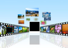 Film strip. With blurry pictures and blank photo frame for your logo Stock Photography