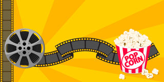 Film strip border with popcorn isolated on background. Yellow background. Vector illustration.  Movie poster template for cinema design. Vector illustration Stock Image