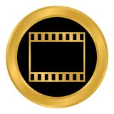 Film strip button. Film strip button on white background. Vector illustration Royalty Free Stock Photography