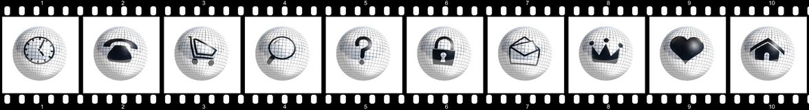 Film strip buttons. Ready to use for designers and publishers Stock Images