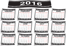 Film strip calendar 2016. Graphic illustration of the Film strip calendar 2016 Royalty Free Stock Image