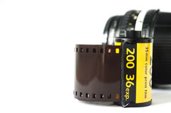 The film strip with camera lens royalty free stock photography