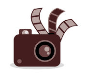 Film strip camera and movie design. Film strip and camera icon. Cinema movie video and film theme. Vector illustration Stock Images