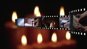 Film strip and candles