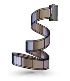 Film strip with canister. On white backgrounds Stock Photography