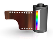 Film strip with canister. On white backgrounds Royalty Free Stock Photography