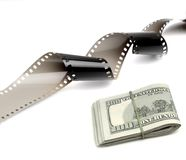 Film Strip and Cash Money Stock Photo