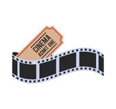 Film strip cinema movie design. Film strip ticket cinema movie entertainment show icon. Flat and Isolated design. Vector illustration Royalty Free Stock Images