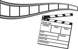 Film Strip and Clapboard. Bending blank film strip and white clapboard Royalty Free Stock Photos