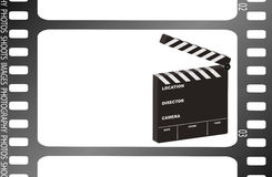 Film strip clapper. Film strip illustration with a film clapper with room for your own text Royalty Free Stock Photo