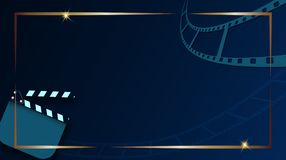 Film strip and clapper-board isolated on dark blue background with gold frame. Design template cinema festival banner, brochure,. Flyer, poster, tickets. Vector royalty free illustration