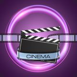 Film strip and clapperboard on abstract purple background. With neon round banner Stock Image