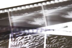 Film strip closeup. Black and white film strips of desert scenes Royalty Free Stock Images