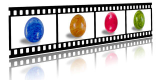 Film strip with colored easter eggs. Picture from a filmstrip showing colored easter eggs Stock Images