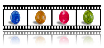 Film strip with colored easter eggs Royalty Free Stock Image