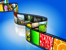 Film strip with colorful images. On blue background Royalty Free Stock Photo