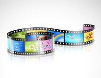 Film Strip With Colorful Images. Curved film strip with reflection and colorful images of summer nature on white background isolated vector illustration Stock Photography