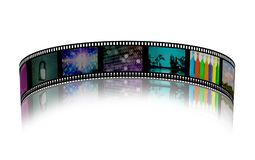 Film strip. With colorful images. 3D rendering Royalty Free Stock Photo