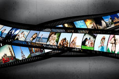 Film strip with colorful photographs on grunge wall. Film strip with colorful, vibrant photographs on grunge wall. Various themes. All pictures used are mine Stock Photo