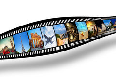 Film strip with colorful, vibrant photographs. Travel theme Royalty Free Stock Photos