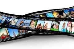 Film strip with colorful vibrant photographs. Film strip with colorful, vibrant photographs on white background. Various themes. All pictures used are mine Royalty Free Stock Photo